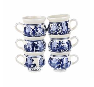 Set cani vin ceramica albastra de Corund 6 x 300 ml