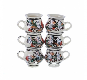 Set canute cafea / vin ceramica colorata Corund 6 x 100 ml