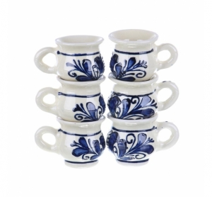 Set canute visinata ceramica albastra de Corund 6 x 50 ml