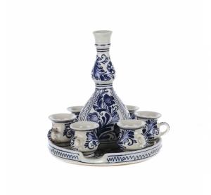 Set servit tuica ceramica albastra de Corund