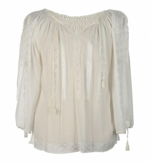 Sheer white embroidered Romanian blouse handmade by artisans
