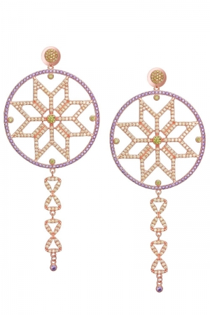 Silver earrings plated with rose gold The Fortune Star Claudia Florentina