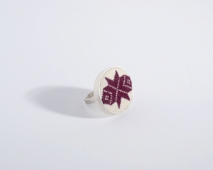 Silver handmade ring The Guiding Star with hand sewn crafted traditional ancestral symbol