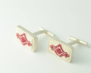 Silver traditional cufflinks made by hand featured with hand sewn symbols specific to Olteania, Romanian region - traditional crafted jewelry