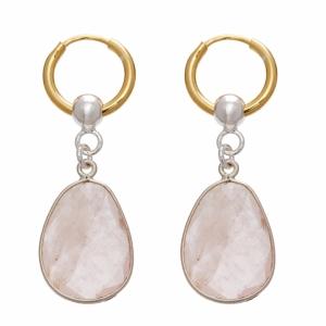 Stone Hoop Pink Earing