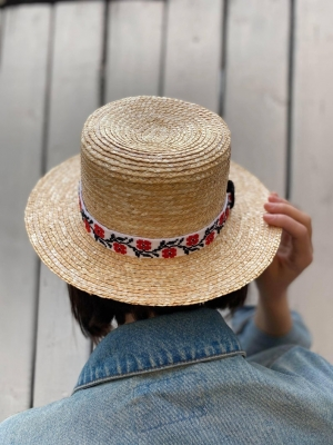 Straw Hat with traditional details Ie de Maramu