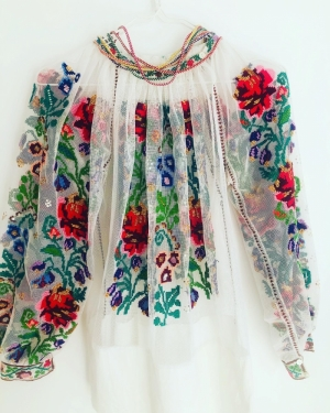 Stunning Vintage Floral Handsewn embroidered blouse on tulle