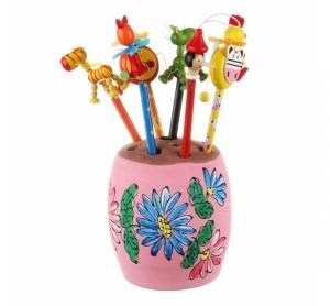 Suport creioane ceramica roz, pictat manual