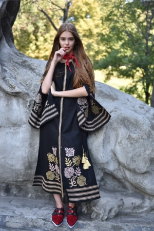 The Slavic Princess Embroidered Dress Knyaya Black 2Kolyori