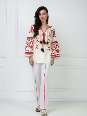Tina Creamy Embroidered Blouse