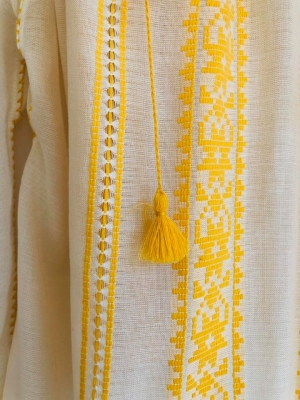 Traditional Romanian blouse woven at the loom with yellow embroidery