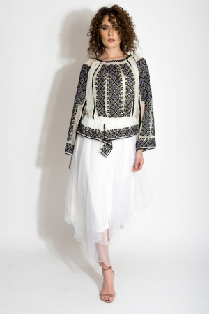 Tulle Romanian Traditional  Handmade Embroidered Blouse