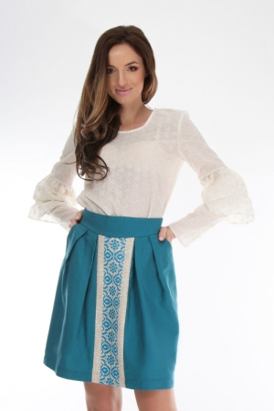 Turqoise skirt with traditional embroidery Onibon Fashion