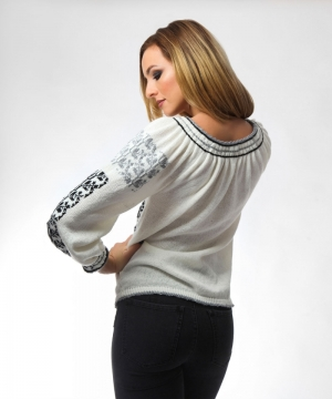 Two color knitted sweater black and grey patterns Onibon Fashion