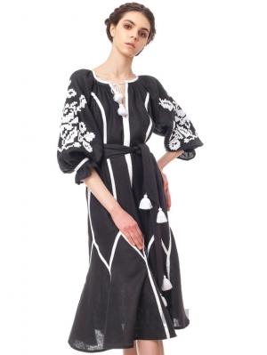 "Ukrainian Bohemian  Dress-embroidery ""Night Flower"" Foberini"