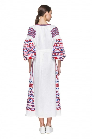 UKRAINIAN BOHO CHIC LINEN LONG DRESS' INFINITY' BAZENA