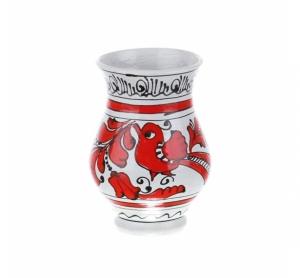 Vaza ceramica rosie de Corund nesmaltuita 10 cm