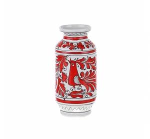 Vaza ceramica rosie de Corund nesmaltuita 22 cm