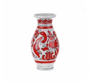 Vaza ceramica rosie de Corund nesmaltuita 25 cm