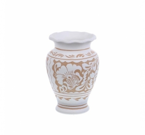 Vaza de ceramica alba de Corund 14,5 cm Model 1