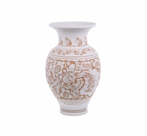 Vaza de ceramica alba de Corund 32 cm Model 1