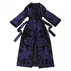 Velvet Coat with Folk inspired blue geometry