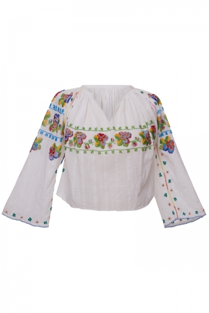 Vintage Peasant Blouse with Beads Embroidery