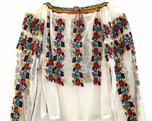 Vintage Romanian Blouse on tulle with flower pattern and sequins made in the 80s