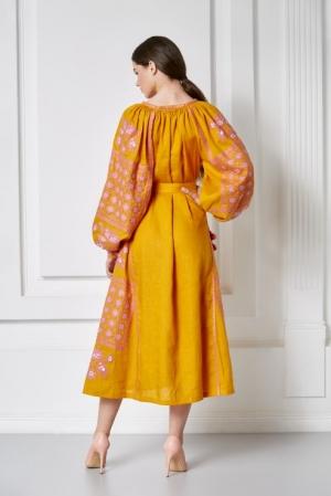 Vyshyvanka style embroidery linen dress in Mustard yellow Foberini