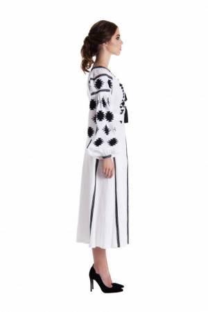 "Rochie traditionala stilizata de lux broderie negru  "" White Geometry"" Foberini"