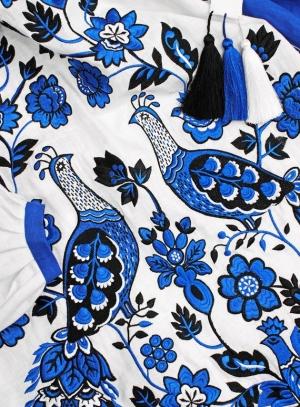 Rochie maxi cu broderie florla albastra- panza 100% naturala