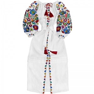 White linen long dress with floral embroidery - maxi ethnic folk Ukrainian dress vyshyvanka - 100% natural linen - kaftan abaya robe