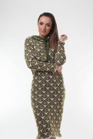 Rochie dama tricotata cu maneca lunga si gluga mode frunze in degrade