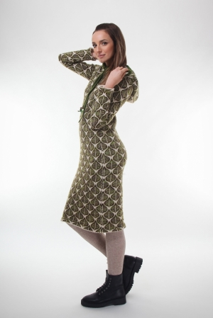 Woman knitwear dress  with green leafs patent texture and long sleeved