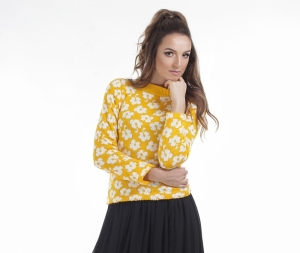 Yellow knitted sweater with white floral pattern, high collar and long sleeves