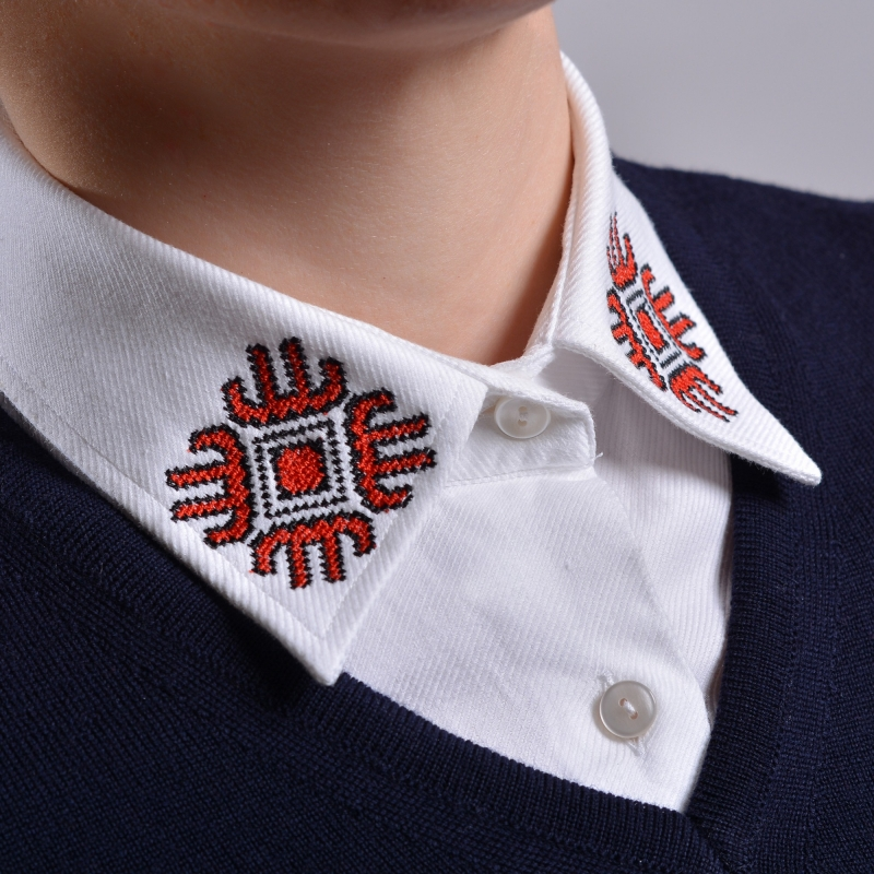 Alice Enco Blue Sweater with Romanian Traditional Motifs UNAVAILABLE
