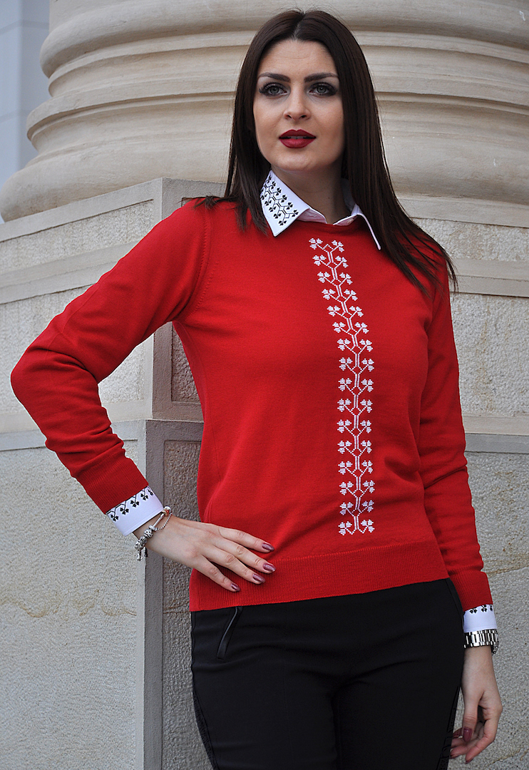 Alice Enco Pulover roșu cu motive românești Trifoi OUT OF STOCK