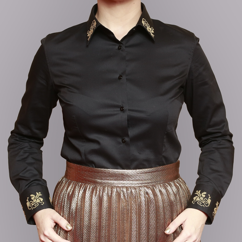 Alisia Enco Grandeur Black Top with Romanian Motifs