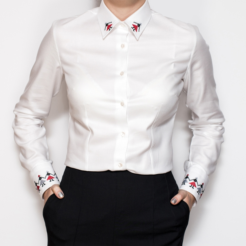 Alisia Enco White Shirt with Romanian traditional motifs Hora