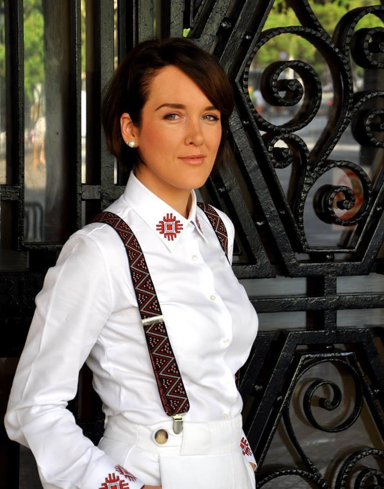 Alisia Enco White Shirt with Romanian traditional motifs  Mayflower