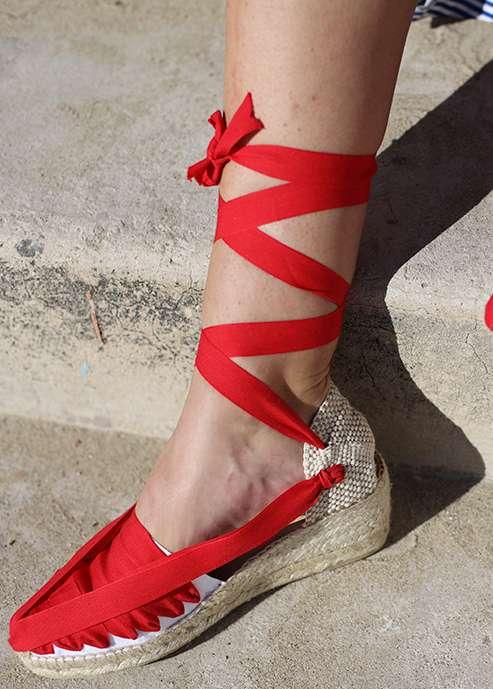Espadrile autentice catalane Barcelona cu talpa wedge si panglici - rosu - 100% autentice -create manual