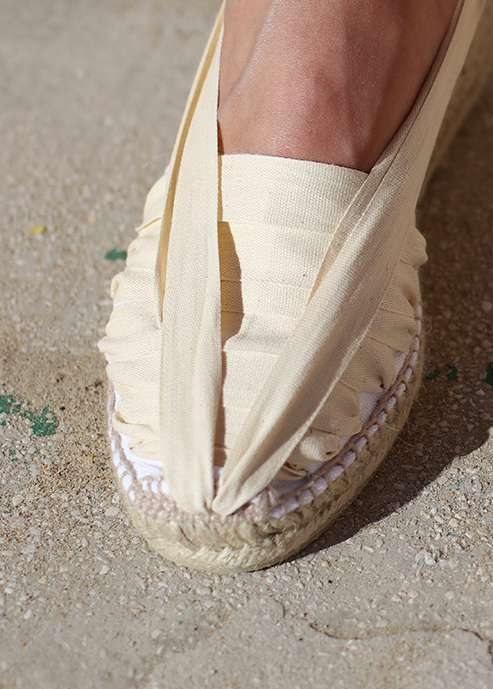 Espadrile autentice catalane Barcelona cu talpa wedge si panglici - alb- 100% autentice -create manual
