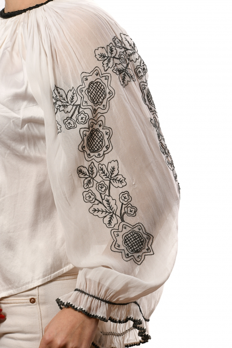 Beg. XX century Up cycled Art Nouveau style Romanian blouse on marquisette with large embroidered sleeves