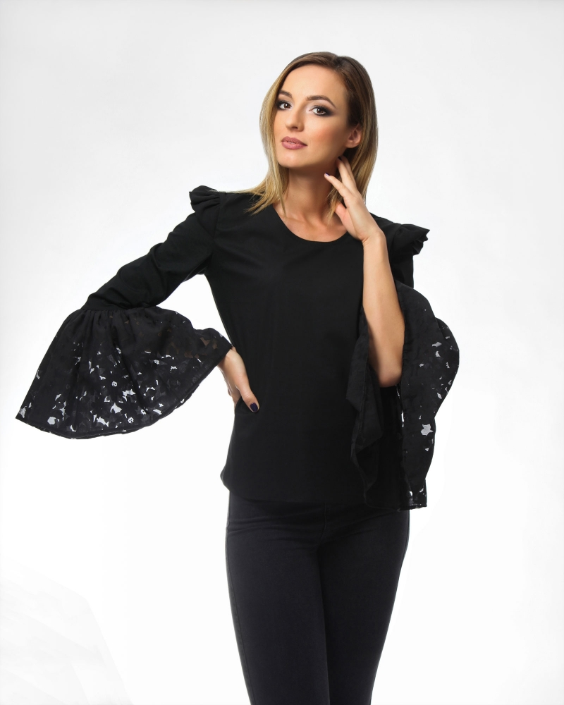 Bell Sleeves Black Blouse Onibon