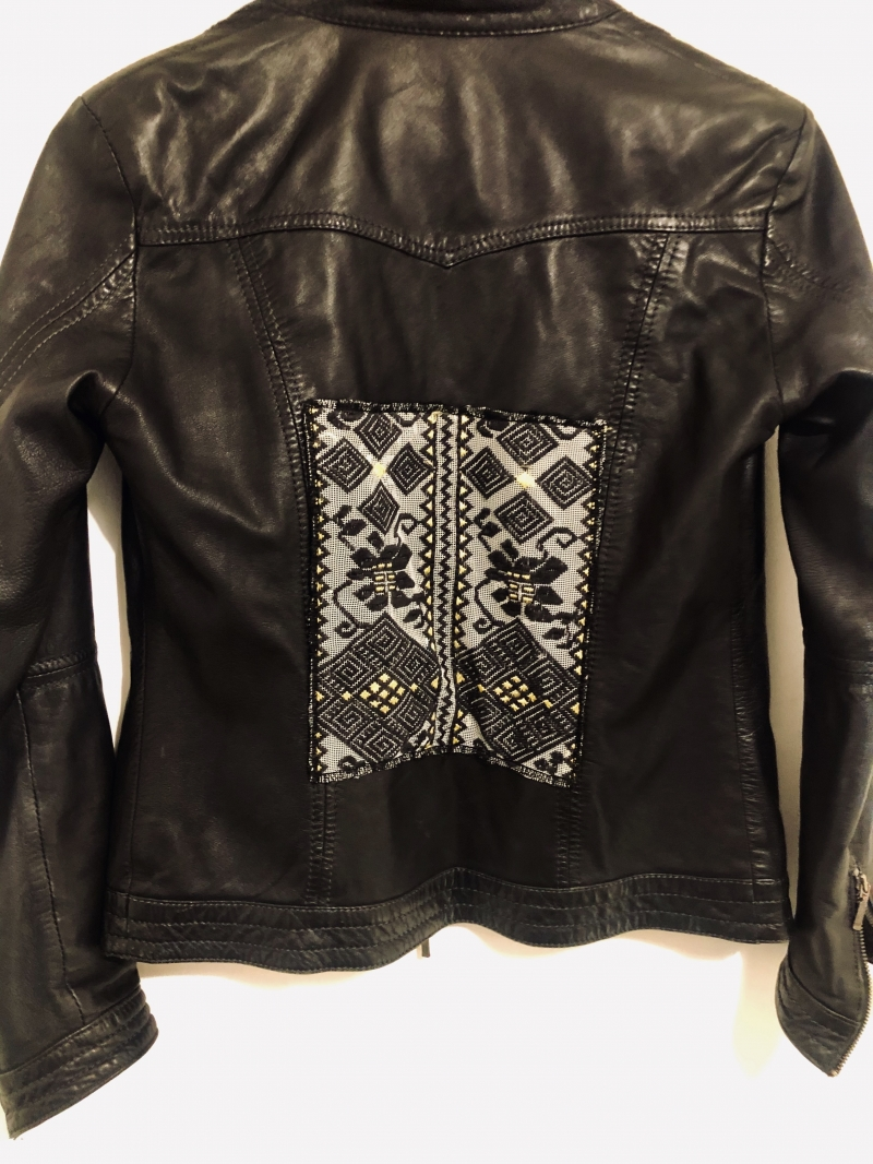 Biker Jacket with Romanian folk fabric