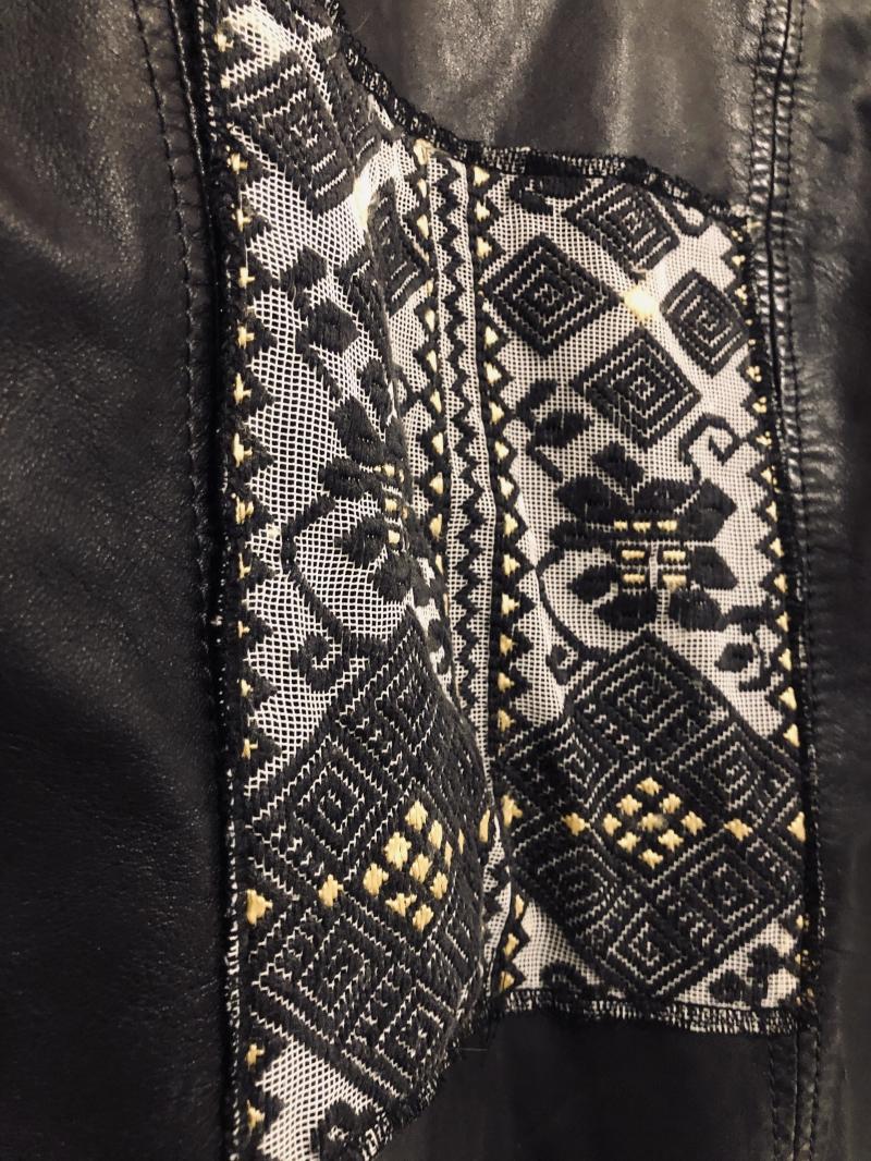 Biker Jacket with Romanian folk fabric