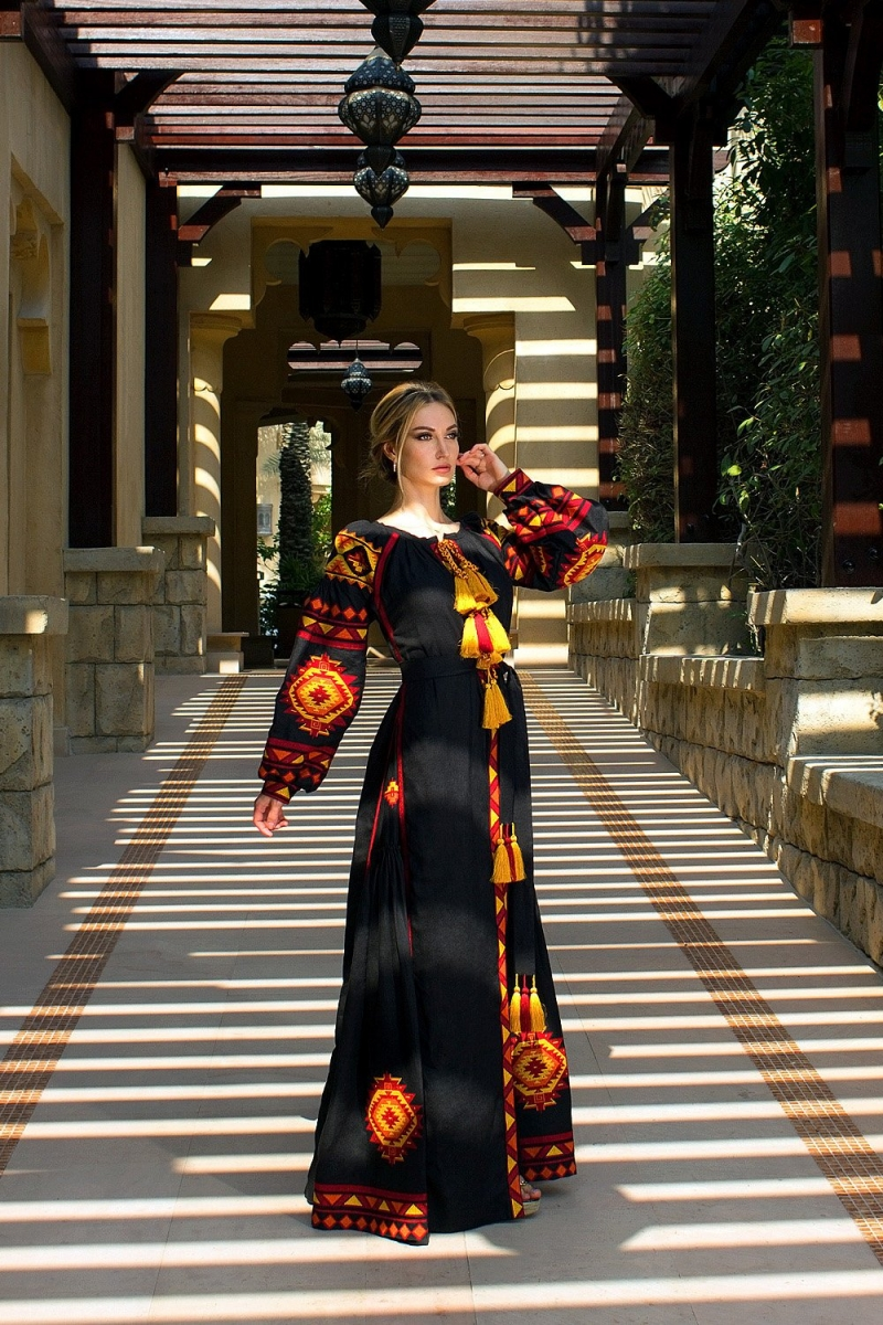 "Black embroidered dress vyshyvanka ""Forest song"" with ancient geometric ornament - bohemian style folk ethnic dress - abaya kaftan robe"