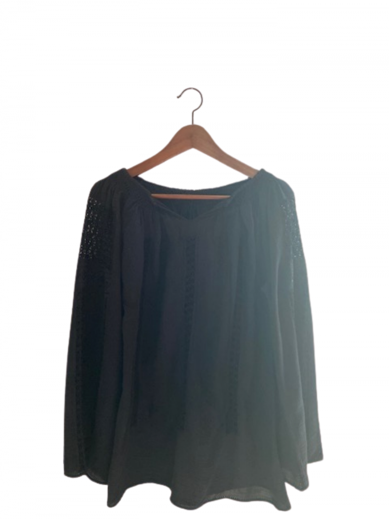 Black linen cloth embroidered blouse handmade with black cotton and silk thread