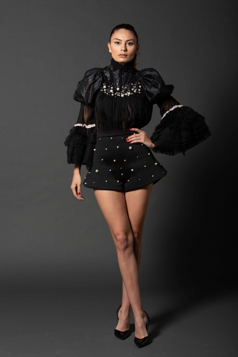 "Black Pearl""Widow"" Folk Blouse IE CLOTHING"