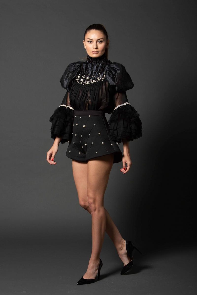 "Black Pearl""Widow"" Folk Blouse IE CLOTHING"